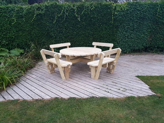 Astonishing Round Garden Picnic Table Bench Set With Back Rests Thick Rustic Solid Heavy Duty Timber Wood Pub Restaurant Shop Cafe Andrewgaddart Wooden Chair Designs For Living Room Andrewgaddartcom