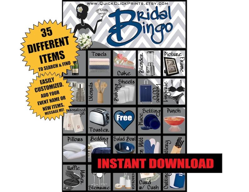 Printable Instant Download Bridal Bingo 30 Cards Chevron Bridal Shower Games Modern Red
