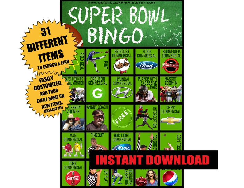 photograph relating to Printable Super Bowl Bingo Cards named Tremendous Bowl Bingo - 30 Playing cards - SuperBowl Bash Recreation - Consuming/All those Seeing Sport - Printable Fast Obtain