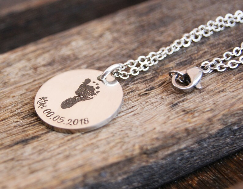 Actual Baby Footprint Necklace Personalized Gift For Mom New Idea 1st Birthday From Husband To