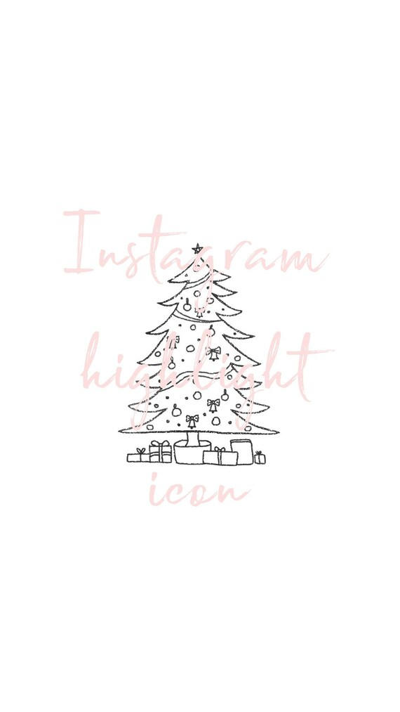 Christmas Icon For Instagram Highlights.Christmas Tree Icon Xmas Festive Instagram Highlight Cover Instagram Stories Hand Drawn Illustration Instagram Cover Images