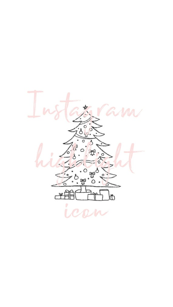 Christmas Tree Icon.Christmas Tree Icon Xmas Festive Instagram Highlight Cover Instagram Stories Hand Drawn Illustration Instagram Cover Images