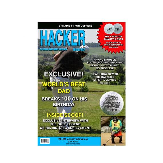 Mens Golf Hacker Funny Birthday Card Magazine Spoof