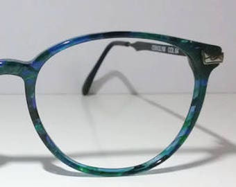 3c39a0ee82 Alfred Sung 2502   vintage 1990s eyeglasses   made in France   blue  eyeglasses   green eyeglasses   NOS