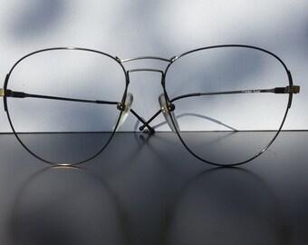 17416fc97d1 Oversize eyeglasses   gun metal   thin eyeglasses   flexible eyeglasses    Magic Line   vintage 1980s eyewear   Made in Italy   NOS