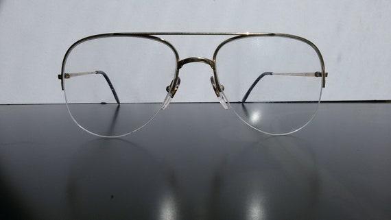 Aviator eyeglasses / pilot glasses / gold / half r