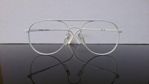 White painted vintage aviator eyeglasses for women