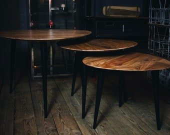 45a181977a2ab Set of 3 Retro Style Nest of Tables with Industrial Tapered Legs Great  Vintage Look