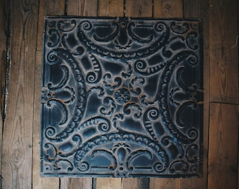 3049cc1d21 Decorative Scroll Metal Wall Art or Decoration Patterned Metal Square Tiles  for Home Decor Vintage Look