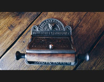 Bury St London Cast Iron Toilet Roll Holder with Lid