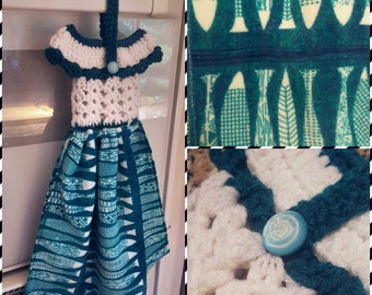 Crocheted Towel Topper Dress | Blue Fish | Fishing | Cabin