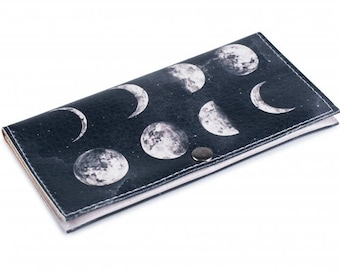 Eco-leather wallet with moon. Handmade purse with moon print. Women clutch. Purse-clutch Moony mood.