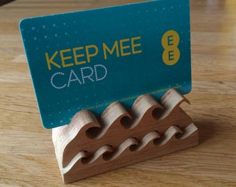 Hand carved surf waves wooden name card place holder for wedding table or favour.