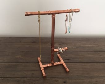 Industrial Copper Pipe Mini Jewellery Stand with Ring Holder - perfect for shorter necklaces, bracelets and rings - Unique Handmade Gift