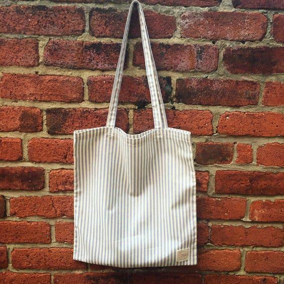 21f171b1363b Blue Stripe Cotton Tote Bag   Book bag   Shopper French
