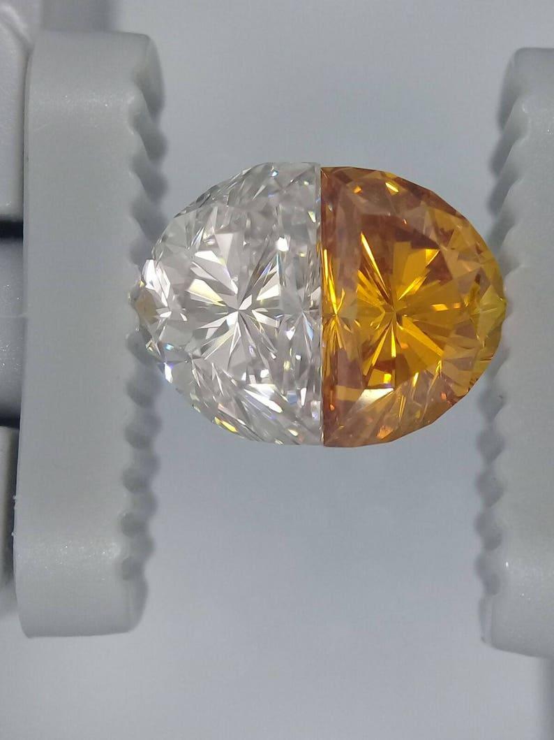 f5a8bb218d Half Moon Diamond Pair Orange and White Loose Diamonds One | Etsy
