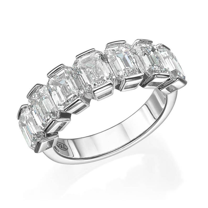60656918a34c4 Wedding band, diamond ring, emerald cut, 7 stone, engagement ring, 18k,  white gold