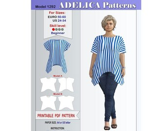 e2e0a597d78a45 Plus size Tunic Sewing Pattern Women's sizes 24-34 US / 50-60 EURO ,Tunic  PDF Instant Download, Tunic Sewing Pattern for wovens and knits