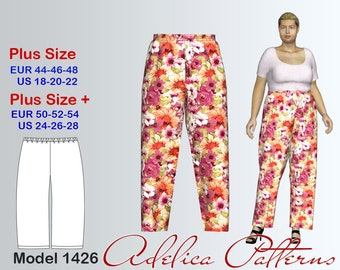 d2e6fa87ee884 Easy to sew Summer Pants Sewing Pattern PDF for Women in sizes 18-28