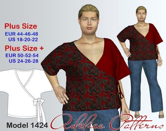 2edb297956f93 Cozy Wraparound Tunic Sewing Pattern PDF for Women in sizes 18-28