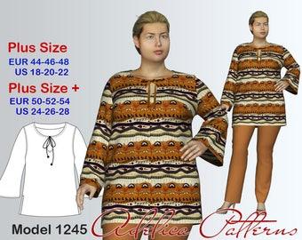 Plus size Tunic Sewing Pattern PDF, Women's sizes 18-28, Plus size Tunic PDF Instant Download Sewing Pattern, Tunic Sewing Pattern