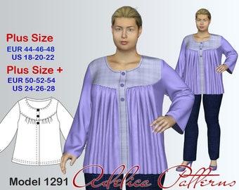 Plus size Folds Blouse-Tunic Sewing Pattern PDF, Women's  sizes 18-28, Plus size Tunic PDF Instant Download Sewing Pattern