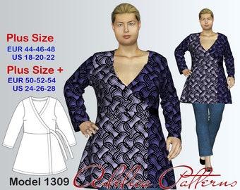 Plus size Wraparound Tunic PDF sewing pattern, Women's sizes 18-28, Plus size Plus size Tunic pattern PDF