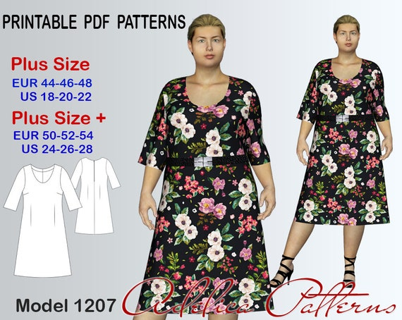Summer Dress Sewing Pattern Pdf Dress For Sizes 18 28 Summer Etsy