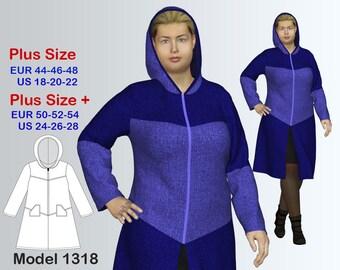 Plus size Hooded Cardigan Sewing Pattern PDF, Women's  sizes 18-28 , Plus size Cardigan PDF Instant Download Sewing Pattern