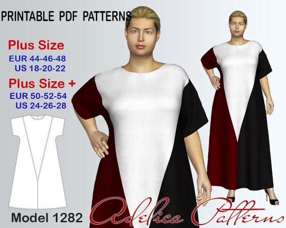 Plus Size Maxi Color Block Dress Sewing Pattern Pdf Sizes Etsy