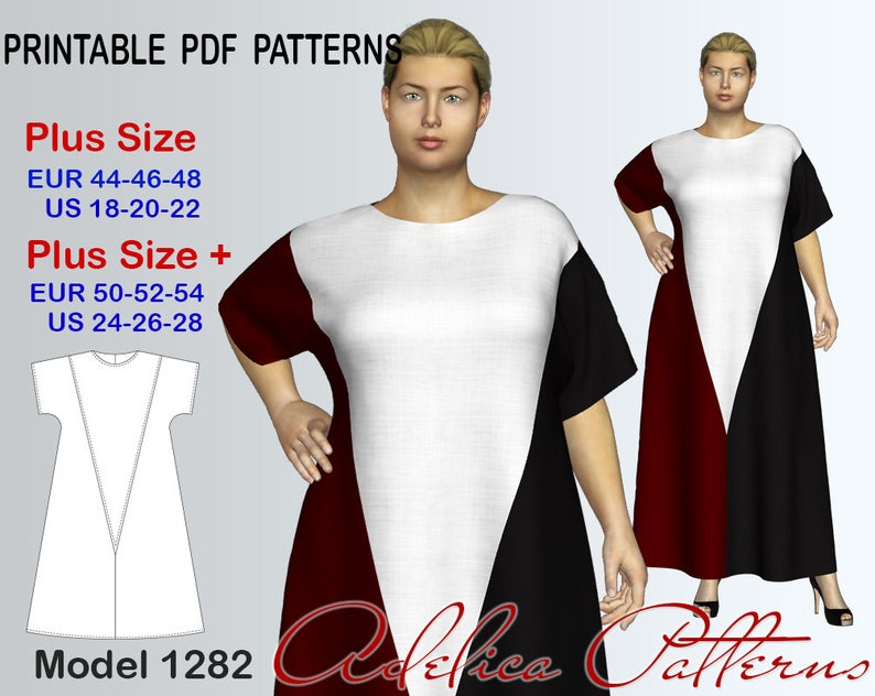 Plus size Maxi color block Dress Sewing Pattern PDF sizes | Etsy