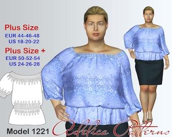Plus size Tunic Sewing Pattern PDF, sizes 18-28, Plus size Tunic PDF Instant Download Sewing Pattern, Tunic Sewing Pattern