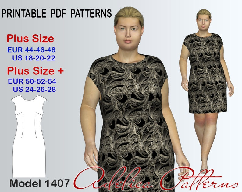 8dcecd49583 Plus size Sheath Dress sewing pattern for sizes 18-28 woman