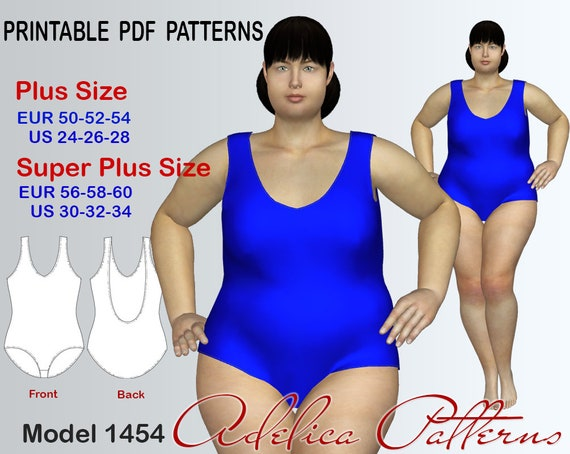Plus Size Swimsuit Pdf Pattern Instant Download For Women In Etsy