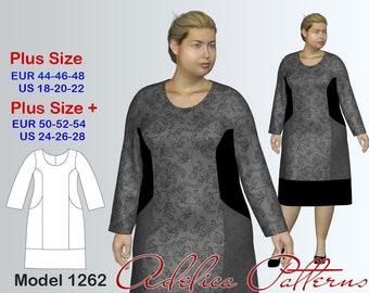 Plus size Dress Sewing Pattern PDF, Women's  (sizes 18-28) , PDF Instant Download Sewing Pattern/Geometric Dress Sewing Pattern