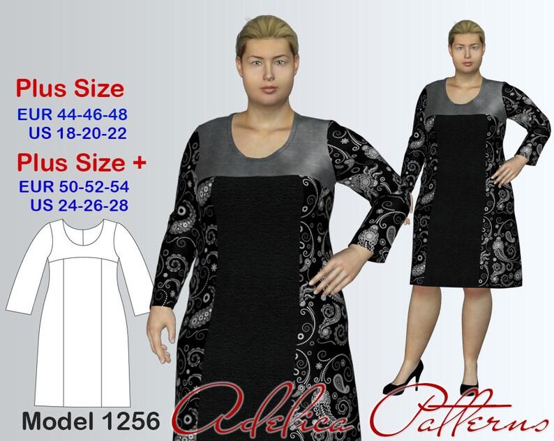 Plus size Dress Sewing Pattern PDF Women\'s sizes 18-28 | Etsy