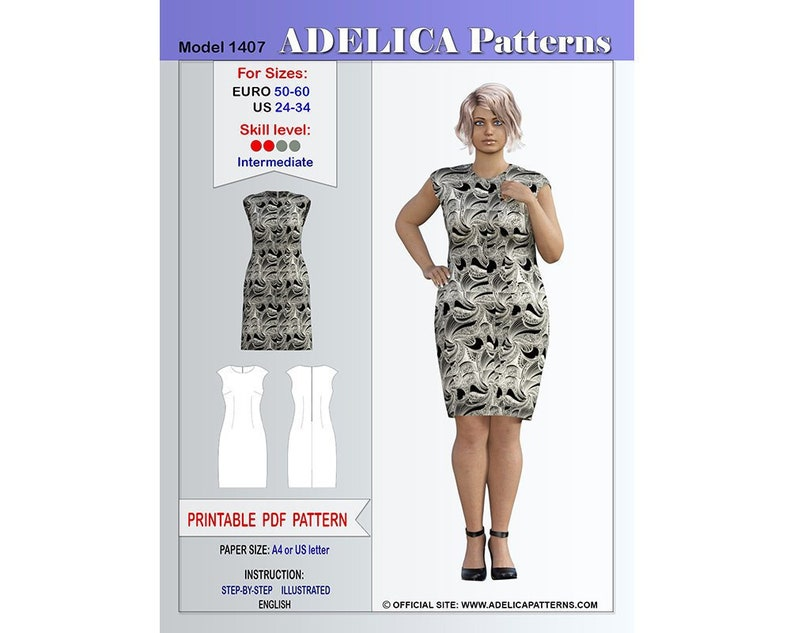 Plus size Sheath Dress sewing pattern for sizes 24-34 US / | Etsy