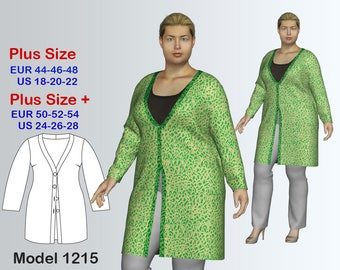 Plus size Summer Cardigan Sewing Pattern PDF. Women's sizes 18-28, Plus size Cardigan PDF Instant Download Sewing Pattern,