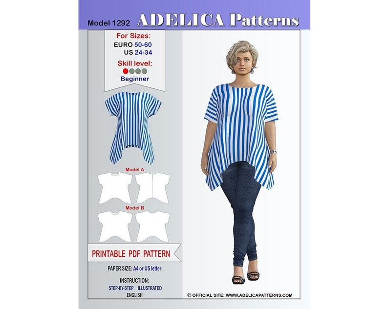 graphic about Free Printable Plus Size Sewing Patterns titled Furthermore measurement Tunic Sewing Practice Womens measurements 24-34 US / 50-60 EURO ,Tunic PDF Immediate Obtain, Tunic Sewing Routine for wovens and knits