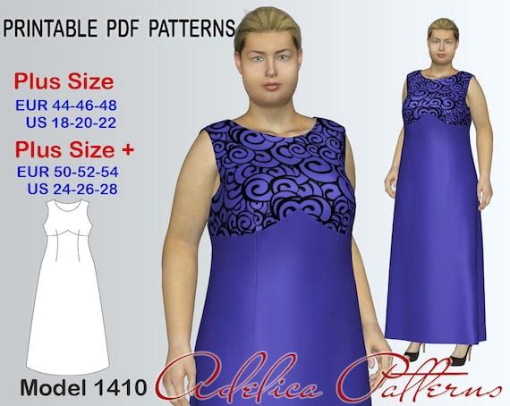Plus Size Long Evening Dress Pattern Pdf Womens Sizes Etsy