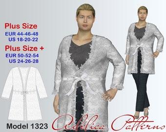 Plus size Lace Cardigan Sewing Pattern PDF, Women's  sizes 18-28 , Plus size Cardigan PDF Instant Download Sewing Pattern