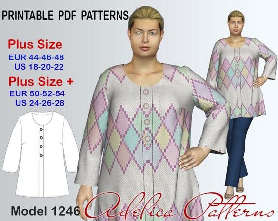 Plus Size Cardigan Sewing Pattern Pdf Womens Sizes 18 28 Etsy