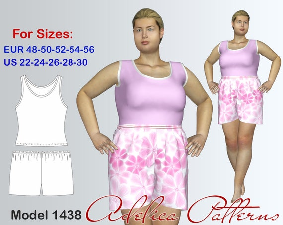 Plus Size Tank Top Pants Sewing Patterns For Women In Sizes Etsy