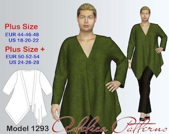 Plus size Loose Cardigan Sewing Pattern PDF, Women's  sizes 18-28 , Plus size Cardigan PDF Instant Download Sewing Pattern