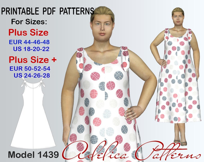 6b7b67b9cb5 Tie Strap Loose fitting Summer Dress sewing pattern for sizes