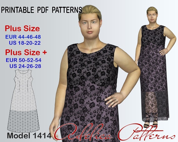 Plus Size Lace Maxi Dress Pattern For Sizes 18 28 Evening Etsy