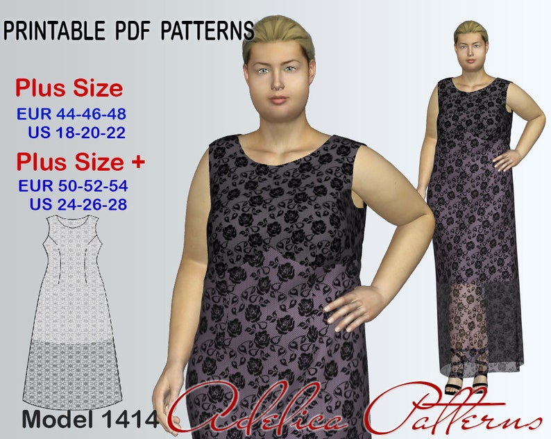 358024e21ce Plus size Lace Maxi Dress Pattern for sizes 18-28 Evening