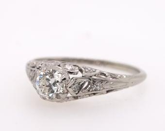 VINTAGE Platinum and Diamond ring -  Australian handmade - C1930s