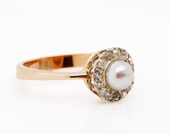ANTIQUE setting  C1910-20S - Conversion cluster Ring  - Akoya Pearl and Old cut Diamonds
