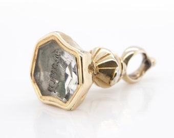 ANTIQUE - 9ct yellow gold Cased small watch Fob - C1860 - 90